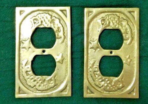 Vintage Decorative Gold Brass Electrical Cover Plate 2 pc Ornate Design Antique