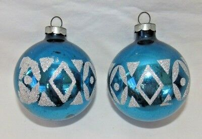 Ornaments In Bulk (Vintage Glass Ball Ornaments Blue w/ Geometric Designs - Lot of 2 - Made in)