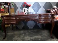 Stunning Chesterfield Leather Top Louis Partners Desk 10 Drawer - UK Delivery