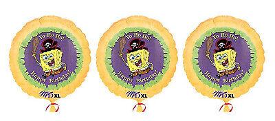 3 SpongeBob SquareP ants - Pirate Happy Birthday Mylar Balloons - Happy Birthday Spongebob