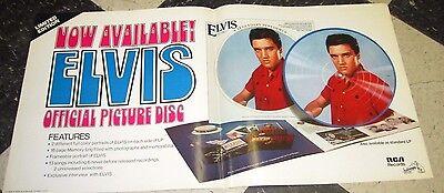 "1978 ELVIS PRESLEY PICTURE DISC PROMO POSTER 12"" X 24"" ORIGINAL POSTER"