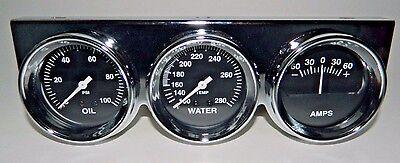 "NEW SUPER PRO TRIPLE 2 5/8"" GAUGE SET OIL PRESSURE WATER TEMP AMPS CHROME PANEL"