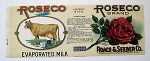 ROSECO Evaporated Milk Antique Michigan Can Label - Jersey Cow