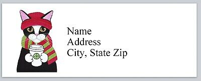 Personalized Address Labels Cute Cat Drinking Coffee Buy 3 Get 1 Free Bx 837