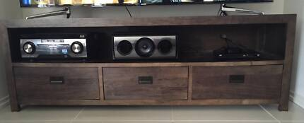 Solid Timber TV Unit (Charcoal) Beaumaris Bayside Area Preview