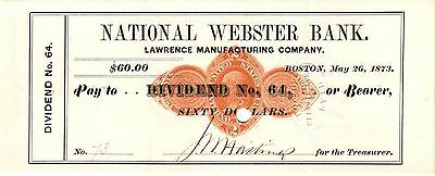 National Webster Bank At Boston Mass 1873 Rn D Revenue Stamped Paper Check