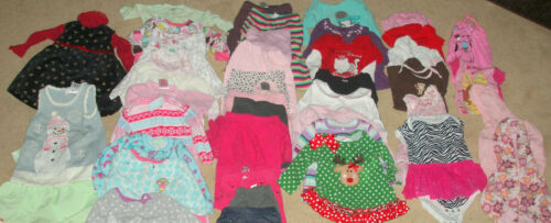 Lot of 43  pc.  baby girl clothes  , size 12 months