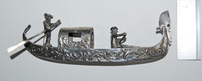 Antique MINIATURE SILVER GONDOLA - Gondoliers, 800 Continental Silver     (4V10)