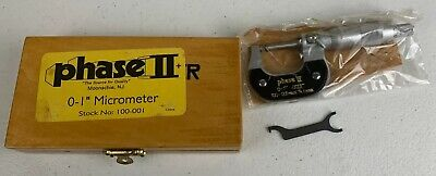 Phase Ii Point Micrometer 0-1 In Wooden Case .0001