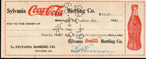 1929 Sylvania Coca Cola Bottling Co. Sylvania Georgia Cancelled Check