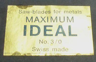1 Gros (144 ST.) Sägeblätter Maximum Ideal Nr. 3/0 -  Swiss made für Metall