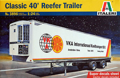 Classic 40' Reefer Trailer Truck Anhänger 1:24 Model Kit Bausatz Italeri 3896