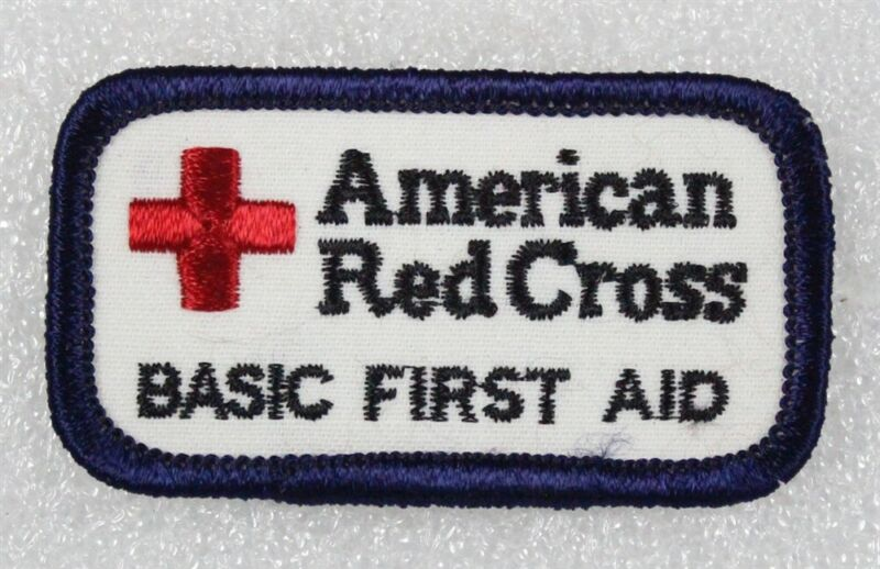 """Red Cross: Basic First Aid patch, 2 3/4"""" rectangle"""