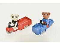 LEGO FABULAND - Perry Panda / Bernard Bear / red and blue bikes - very old and very rare