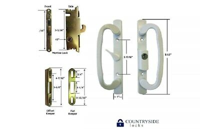 Patio Sliding Door Handles - Sliding Glass Patio Door Handle Kit with Mortise Lock and Keeper Included White