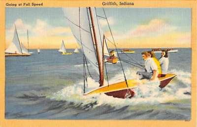 Griffith Indiana Sail Boat Scene Linen Antique Postcard K101579