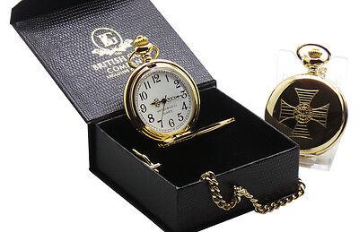 KNIGHTS TEMPLAR Freemason Masonic GOLD POCKET WATCH Luxury Gift Box Certificate
