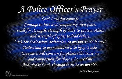 A Police Officer's Prayer Black & Blue 11x17 Poster
