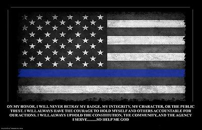 Thin Blue Line Oath of Office Law Enforcement American Flag 11x17 Poster