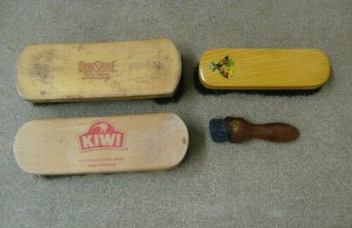 Shoe brush group of 4 Dyan Shine, Kiwi, Vero, Stanley Vintage shoe care tools