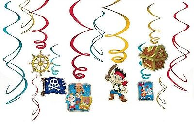 (12ct) Jake the Pirates Birthday Party Hanglers Hanging Swirl Decorations - Jake The Pirate Decorations
