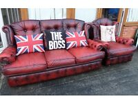 Stunning Chesterfield 3 Seater Sofa & Chair High Back Oxblood Red Leather UK Delivery