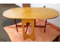 Vintage RETRO Oval Wood Drop Leaf Dining Table