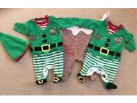 Christmas baby sleepsuits. (0-3 months)