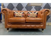 NEW Chesterfield 2 Seater Sofa in Tan Brown Leather - UK Delivery