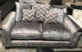 Silver crushed velvet large 2 seater sofa