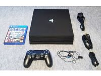 BLACK PS4 PRO 4K CONSOLE 1 TB MEMORY WITH CONTROLLER AND GAME