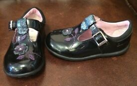 Girl's Size 5½ F Clarks first shoes buckle Black patent purple glitter green (LIKE BRAND NEW) (FFSP)