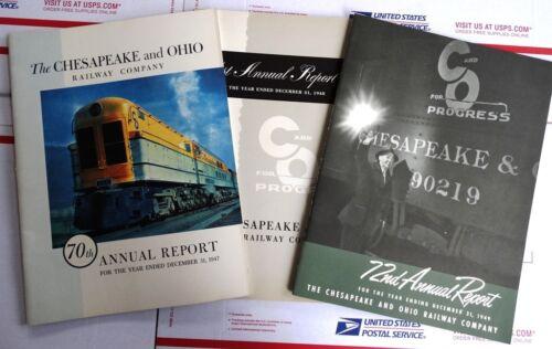 3pc Lot Chesapeake & Ohio C&O Railway Annual Reports 1947 1948 1949