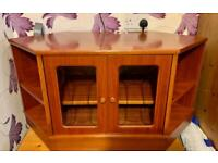 Nathan solid teak TV unit with glass fronted doors
