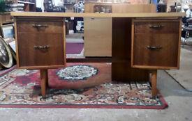 Mid Century Desk c1960 Walnut Twin Pedestal Original Condition Morris of Glasgow Rare Curved Desk