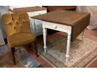 Victorian Drop Leaf Vintage Oak Dining Table with Drawer *FREE DELIVERY* Shabby Farmhouse Chic(pine)
