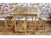 Space Saving Design Rustic Extending Breakfast Bar with Two Stools