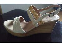 UGG Wedge Sandals (Cream & Tan)