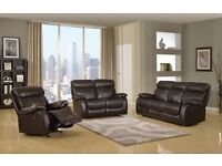 BRAND NEW Milano Brown Leather Recliner Sofa Set