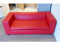 Red Designer Soft Faux Leather Contempary Modern Metal Action Spring Fold Out Sofa Bed