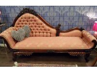 GORGEOUS MAHOGANY FRAMED CHAISE LONGUE - WE CAN DELIVER!
