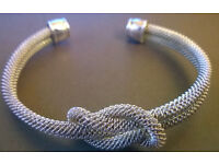 sterling silver knot mesh bangle