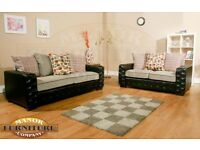 Brand New Buttoned Sofa Set - Less than Cost Price at £295