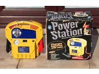 Portable rechargeable power station and compressor 12v-DC