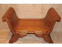 Teak ornate scroll bench