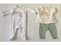 Next Baby Girl Little Sister Outfit & Sleepsuit 0 - 3 Months