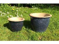 Set of 2 navy blue ceramic garden flower pots