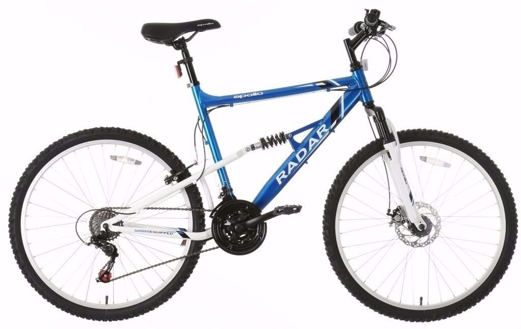 Blue and white Apollo radar mountain bike. 20 inch frame 24 inch ...