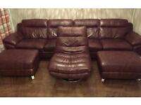 Brown leather sofa 2 foot stools and swivel chair