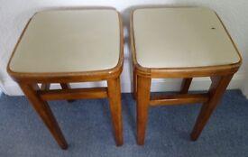 Vintage/Retro solid Wooden Bar/Kitchen/Bedroom Stools - soft top